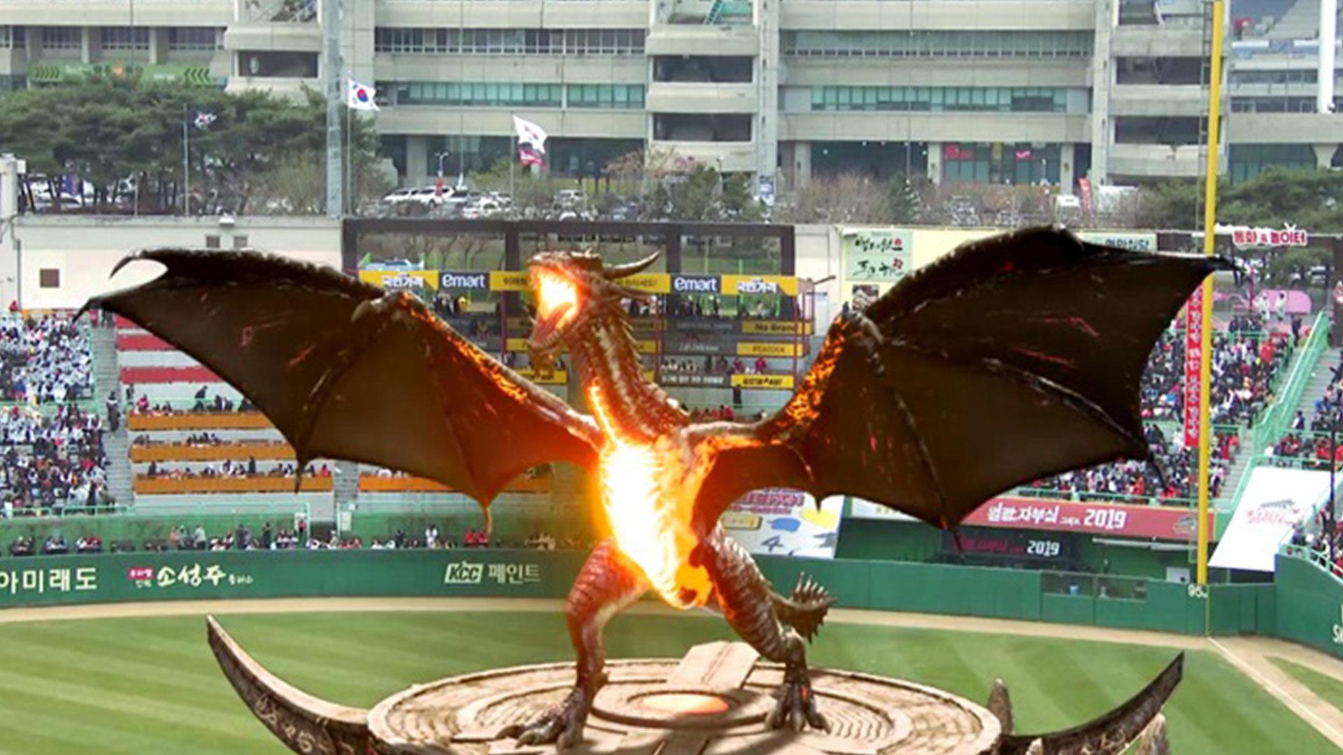Een draak steelt de show tijdens Korean Pro Baseball seizoensopening